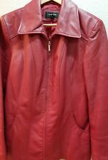 Colebrook Classics Red Leather Jacket Size Large Zip Front Lined Sleek