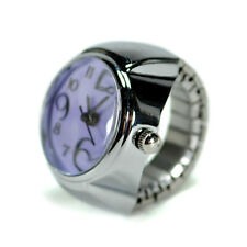 WATCH RING Finger Stretch Band Chrome Time Jewelry NEW Large Number Purple Gift