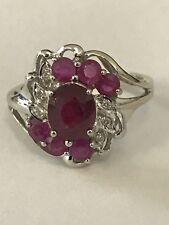 14k White Gold Ruby Pink Sapphire Diamond Cocktail Cluster Ring