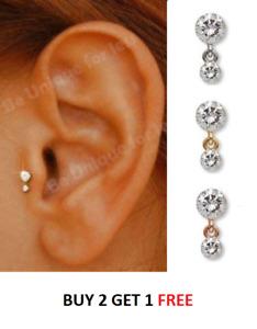 Crystal Dangle Threaded Stud Tragus Helix Bar Cartilage Screw On Helix Earring