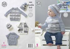 King Cole Baby Double Knitting Pattern Raglan Sleeve Cardigan Sweater & Hat 5089