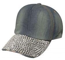 Showman Couture Blue Bling Denim Baseball Hat with Crystal Rhinestone Bill