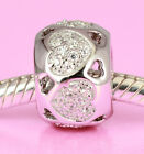 SOLID 925 Sterling Silver HEART Bead with 48 Sparkling Cz For Charm Bracelet