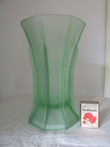 Vintage Large Deco Green Depression Glass Vase