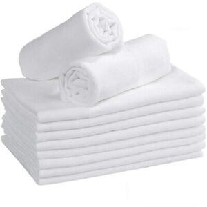 12 White Large Supreme Quality Muslin Squares, Burp Cloths 100%cotton, 70 x 70cm
