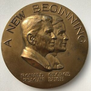 """American President Reagan & Bush - 3"""" Bronze Medal Coin Numbered - 1980 Election"""