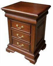 Solid Mahogany French Sleigh 3 Drawer Bedside Table Cabinet Traditional BS001
