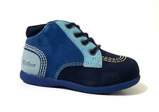 New $80 KICKERS Kids Boots Shoes Toddler Boys LEATHER Blue Sz 7 USA/23 EURO/6 UK