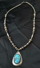Vintage Native American Silver & Bisbee Turquoise Necklace