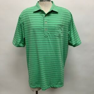 Peter Millar Summer Comfort Men's Polo Golf Shirt X-Large Green Purple Striped