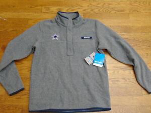 Dalllas Cowboys Womens New NFL Apparel Columbia PFG 1/4 Button Fleece Jacket Lg