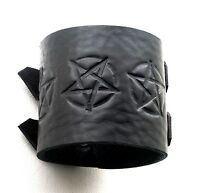 Pentagram Black Leather Cuff Wristband Bracelet Double buckle adjustableHandmade