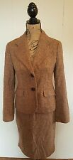 Ann Taylor Loft Brown Tweed Lined Skirt Suit SZ 2 Button Blazer Two Piece