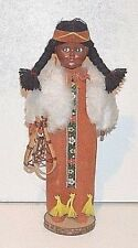 Vintage Native American Indian female doll leather clothes snow shoes ponytail