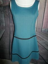 """HOT IN HOLLYWOOD"" DESIGNER Dress, Size Small, Blue w/Blk lines, A-Line, So Cute"