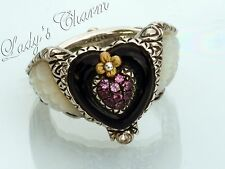 Barbara Bixby Winged Heart Mother-of-Pearl Ring Sterling Silver Size 6