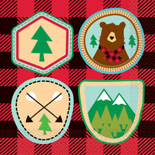 PLAID LUMBERJACK HAPPY BIRTHDAY LUNCH NAPKINS (16) ~ Party Supplies Serviettes