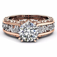 Fashion Rose Gold Plated Crystal Zircon Engagement Wedding Couple Rings Jewelry