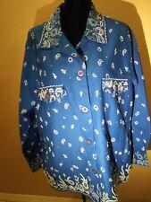 Quacker Factory Blue Bandana Print Sequin Hand Beaded Jacket Women's Plus Sz 1X