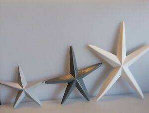 Wooden Starfish Light Grey,Dark Grey and White Set Of 3 can be wall hung
