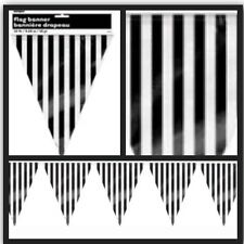Flag Banner Bunting Black & White Stripe Birthday Lolly Buffet Party Supplies