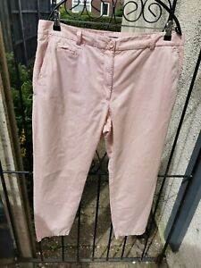Marks And Spencer Light Pink Chino Trousers Cotton Size 16 Regular