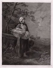 "George MORLAND 1800s Engraving ""Peasant Girl with a Bread Basket"" SIGNED COA"