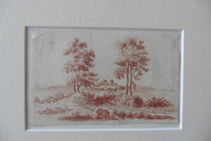 FRENCH SCHOOL 18thC - LANDSCAPE WITH CASTLE - FINE RED CHALK DRAWING