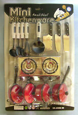 17 Pc Kids Kitchen Cookware Playset Pots Pans Utensils w/ Dual Range