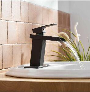 Matte Black Waterfall Spout Single Handle One Hole Bathroom Vessel Sink Faucet