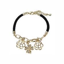 Lucky Four Leaf Clover and Flower Gold Plated Black Bracelet