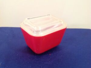 Vintage Pyrex small red glass covered frig food storage box