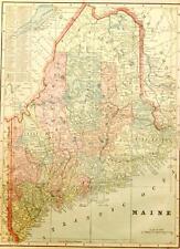 Beautiful Original 1899 Maine Large Color Map/11x14