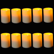 10x Flickering Flame Resin Pillar LED Candle Light w/ timer For Wedding Party US