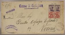 STORIA POSTALE REGNO COPPIA 50 c. SINGER PUBBLICITARIO 1925 CASTAGNARO #SP269
