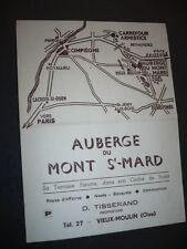 MENU RESTAURANT 1970 AUBERGE DU MONT ST MARD VIEUX MOULIN OISE