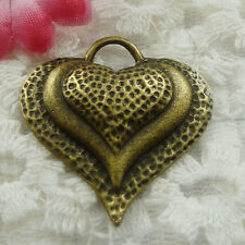 Free Ship 60 pieces bronze plated heart pendant 34x33mm #622