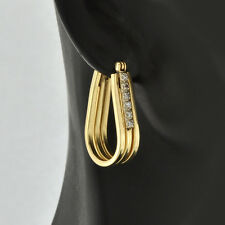 Pretty 14K Solid Gold Modern U- shaped Fluted Design Accents Diamonds Earrings