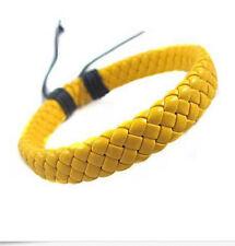 Men Woman Unisex Leather Bracelet Bangle Cuff Rope Black Surfer Wrap Adjustable