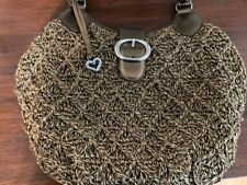 BRIGHTON WOVEN COTTON SHOULDER PURSE WITH BROWN LEATHER TRIM