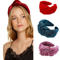 Ladies Velvet Fabric Tie Headband Hairband Wide Alice Hair Band Hoop Accessories