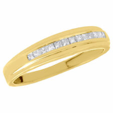 10K Yellow Gold Princess Diamond Wedding Band Mens 5mm Engagement Ring 0.25 Ct.