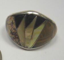 Size 7 Ring Jasper Onyx Tiger Eye Shell Inlay .925 Sterling Silver USA Made GU