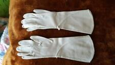 "Vintage Beige Long Church Gloves, Adult Tween, 3""Narrow At Fingers, Thinvelvet"