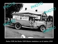 OLD LARGE HISTORIC PHOTO OF PARKES NSW, NSW DISTRICT AMBULANCE STATION c1930