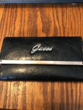 Vintage Guess Women's Clutch Tri-Fold Wallet Checkbook Black