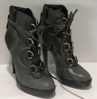 Tory Burch Gray Leather Ankle Platform Boots Size US 8.5M Shoes Booties Lace up
