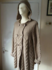 BCBG Maxazria,BeigeBrown cable,chunky knit hooded Cardigan/Jacket/Coatagan,