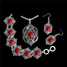 Nice Flower Antique Silver Turquoise Necklace Earring Bracelet Women Jewelry Set
