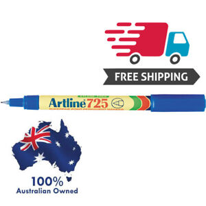 6 x Artline 725 Fine Permanent Marker 0.4mm Blue